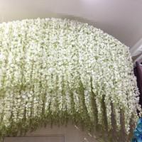 silk wedding bouquet toptan satış-Beyaz Yeşil Yapay Çiçekler Simülasyon Wisteria Vine Düğün Süslemeleri Uzun Ipek Bitki Buket Kapı Odası Ofis Bahçe
