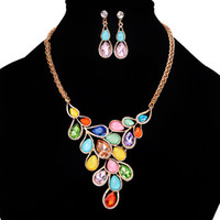 Wholesale Orange Blue Gemstones - New Arrival 2017 Women Necklace Earrings Sets Lady Leaf Shape Gemstones Pendant Necklace Women Diamond Studs 6 Colors Fashion Jewelry Gift