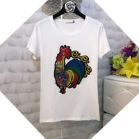 Wholesale Top Cock - Harajuku Tee Shirt Femme New 2017 Summer Fashion Short Sleeve Cotton Tshirt Women Embroidery Cock Sequined T-shirts Female Top