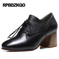 Wholesale Wooden Leather High Heels - Pumps High Heels Block Black Luxury Square Toe Genuine Leather Ladies Lace Up Ankle Boots Oxford European Designer Shoes Wooden