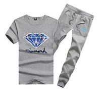 Wholesale diamond supply shirts free shipping - D610 Free shipping s-5xl new men Leisure Diamond Supply T-Shirt and long pants suit o-neck Elastic waist Tracksuits