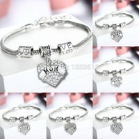 Vente en gros- Mode CADEAUX LOVE CORPS RHINESTONE CRYSTAL CHARME PENDENTIF PERLES SILVER BANGLE FAMILY BRACELET PARTY Mariage FEMME LADY JEWELRY