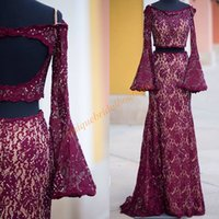 Wholesale Open Back Empire Dress - Open Back Lace Prom Dresses 2k17 with Long Bell Sleeves and Empire Waist Real Photo Two Pieces Style Burgundy Pageant Dress Sweep Train