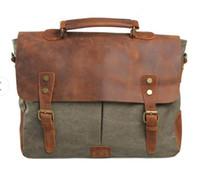 Wholesale Green Messenger Laptop Bag - Canvas with leather and retro Messenger Bag Shoulder Messenger Bag Laptop Briefcase