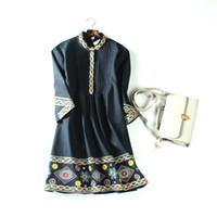 Wholesale Ladies Luxury Briefs - 2017 summer new arrival top quality luxury original classic brand elegant retro classic embroidery ladies dress