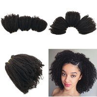 Wholesale afro weaves for black hair online - 100 Malaysian Human Hair Weaves for Black Women mm Afro Kinky Curly Hair Weft FDSHINE