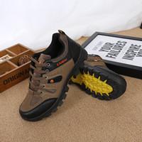 Wholesale Trekking Shoes Men - 2017 Men Trekking Shoes Rubber Outsole Outdoor Sports Hiking Camping Tactical shoes Boots For Men Non-slip Breathable Shoes Big Size