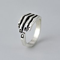 New Arrivals Real 925 Sterling Silver Hand Finger Rings pour les femmes Girl Halloween Gift Jewelry Pure Silver Rings Ajustable Open Finger Rings