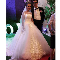 Wholesale Ball Gowns For Pregnant Women - White Gorgeous Tulle Lace Appliques O Neck Ball Gown Wedding Dresses For Pregnant Women Bridal Wedding Gowns 2017 Sheer Neck Sleeveless