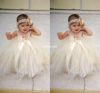 Wholesale Toddler Pageant Wear Christmas - Champgne Beaded Lace Toddler Baby Flower Girls Dresses 2017 Spaghetti Ball Gown Infant Little Girls Pageant Dresses Formal Wear For Wedding