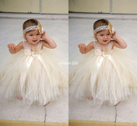 Wholesale red infant formal dress resale online - Champgne Lace Toddler Baby Flower Girls Dresses Spaghetti Ball Gown Infant Little Girls Pageant Dresses Formal Wear for Wedding