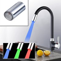 Wholesale plates ceramic color resale online - Color LED Light Water Faucet Tap Heads only Faucet Head And Chrome Solid Brass Kitchen Faucet Swivel Vessel Mixer