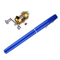 Wholesale Fishing Rods Reels - 1pc Mini Portable Aluminum Alloy Pocket Pen Shape Fish Fishing Rod Pole With Reel #ZH123201