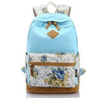 Wholesale Vintage Cotton Bags - Wholesale- Canvas Print Bag Middle School Backpack School Teenagers Girls Vintage Stylish Ladies Bag Backpack Female Blue Dotted Printing