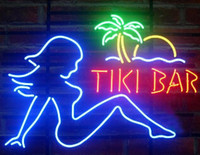 "Wholesale Tiki Bar Sign Lighted - NEW Tiki Bar Girl Real GLASS NEON LIGHT BEER LAGER BAR SIGN 18"" 19"" 24"" 32"""