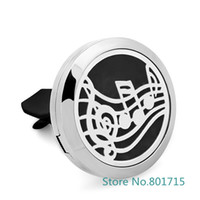 Wholesale Perfume L - Music note Essential Oil Car Diffuser Locket Vent Clip 316 L Stainless Steel Pendant Perfume locket Magnetic Randomly 5pcs Oil Pads as Gift