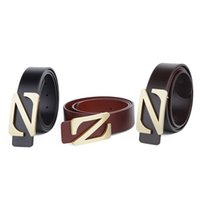 Wholesale Gloss Standard - Top layer leather Letter Z high gloss Pure copper Smooth buckle classical Style dress Genuine leather Belt for men Fashion