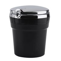 Wholesale Travel Cup Holder Tray - Free Shipping LED Lighting Portable Car Ashtray Auto Travel Cigarette Cylinder Smokeless Ashtray Holder Cup Ash Tray Cup