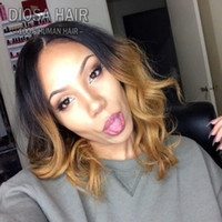Wholesale chinese wavy hair - Diosa Wavy Ombre Short Bob Wigs Glueless Blonde Full Lace Wig With Baby Hair Lace Front Human Hair For Black Women