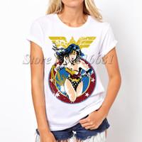 Wholesale Sexy Wonder Women - 2017 Wonder Woman Print Sexy Fashion Punk tops Printed Women T Shirt Camisetas Femininas 2016 Tshirt T-shirt Tops