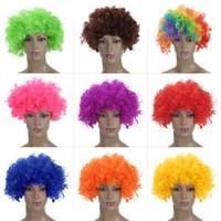 Wholesale Short Dark Pink Cosplay Wig - Color clown wig Cosplay short perruque animation Cosplay Peruca synthetic clown black wig masquerade costume cosplay bea077 dhl
