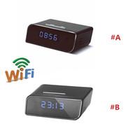grabador de video en tiempo real al por mayor-Cámara WIFI 1080P Super Alarm Clock Network Camcorder Reloj Mini Cámara Niñera Cam Video Recorder Remote Control por APP Visualización en tiempo real