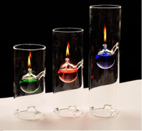 Wholesale Christmas Hurricane Candles Holder - Fashion super beauty creative transparent glass cylinder oil lamp lotus leaf characteristics wedding gift instead of candlestick Diameter