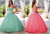 Wholesale Low Priced Coral Prom Dress - Cheap Low Price Ball Gown Strapless Embroidery Beaded Sweet 16 Quinceanera Dresses Lace Up Prom Dresses Sleeveless