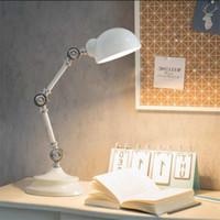 ingrosso lampade da tavolo in metallo d'epoca-L19-Nordic Style Leggi luci LED del robot del metallo lampada da tavolo braccio dell'oscillazione scrittorio della lampada di lettura di alta qualità Lampada da comodino Vintage