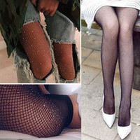 Spandex,Nylon black lace tights - New Fashion Socks for Women Sparkly Mesh Fishnet Tights with Imitation Diamond Shiny Tights Pantyhose Oversized Large Stockings CK1101