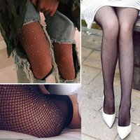 Wholesale Women Lace Tights - New Fashion Socks for Women Sparkly Mesh Fishnet Tights with Imitation Diamond Shiny Tights Pantyhose Oversized Large Stockings CK1101