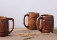 Wholesale Brown Coffee Mugs - Hot Eco-friendly 400ml Classical Wooden Beer Tea Coffee Cup Mug Water Bottle Heatproof Home Office Party Drinkware