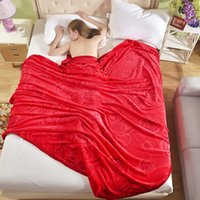 Wholesale Dyed Red Coral - 2017 Dark red fashion printing and dyeing coral wool blanket sofa bedroom car warm blanket soft and comfortable quality assurance