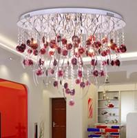 kırmızı tavan avizesi toptan satış-Post-Modern Yaratıcı K9 Kristal Chadelier Söğüt dal LED Tavan Lambası Şarap kırmızı Kristal Avize Oturma Odası Otel Lambası