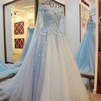 Wholesale Flower Strap Wedding Dresses - Off Shoulder Tulle Bridal Gowns A Line Wedding Dresses Amazing Sky Blue Handmade Flowers Wedding Dresses 2017 Pearls Beaded