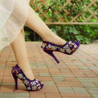 Wholesale Rhinestone Nightclub - Purple Wedding Shoes Crystal High Heel Bridal Shoes Handmade Nightclub Rhinestone Bride Shoes Peep Toe Spring Women Prom Pumps