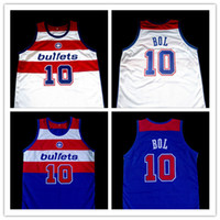 Wholesale Bullet Custom - MANUTE BOL WASHINGTON BULLETS Basketball Jersey Blue White Embroidery Stitched Custom any Number and name Jerseys