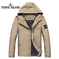 Wholesale New Fashion Jacket Mens - Fast shipping 2017 new island stone autumn mens jacket bomber jacket and coat land is stone blue jacket with hat &222