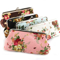 Wholesale Pink Rose Handbag - Vintage Rose Flower Coin Purse Long Size 6 Inch Big Canvas Wallet Snap Closure Floral Wallet Hasp Handbag Money Bag Christmas Promotion Gift