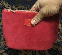 Wholesale Brand S Handbags - luxury velvet handbag red color with brand logo pattern soft storage bag makeup bag