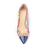 Wholesale Transparent Rivet High Heels - Sexy Transparent PVC Leather Splice Women Pumps Fashion Colorful Rivets High Heels Shoes Stiletto Bridal Shoes Large size 42