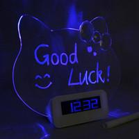 Wholesale Silent Digital Clock - Noctilucent Decorative Table Digital Time Clock with Handwriting Silent Modern Creative Watch Table Alarm Desk Clock Temperature