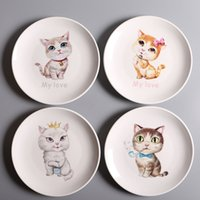 Cartoon Cat Ceramic Dinner Plates Porcelana Pratos Saucer Plate Rice Noddle Dinnerware Frutas Dish Dishware Plate 4 Design XL-G270