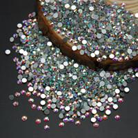 piedras brillantes claras al por mayor-Al por mayor-Super Calidad Brillante Super Nail Art Rhinestone Blanco Crystal Clear AB Color No Hotfix Flatback Crystal Strass Stones