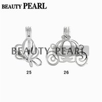 Wholesale Flying Pearl - 10 Pieces Wholesale Pearl Pendant Charms Lockets Cage Mixed Flying Butterfly and Carriage Wish Cages Jewelry