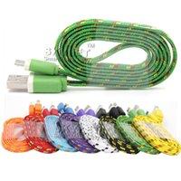 flat noodle cable оптовых-Для Galaxy S7 S6 кабель Micro USB кабель плетеный лапша плоский USB шнур высокоскоростной нейлон плетеный красочный кабель V8