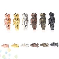 Wholesale dragon tip - Colorful Metal Dragon Drip Tips 510 Dragon Drip tips with a pearl on mouth high quality Metal Mouthpiece with 510 thread DHL Free