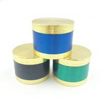 Wholesale Metal Pipes Lids - 4 parts Gold Lid Top Fashion Metal Grinder 50mm 4 parts Zinc Alloy Herb Herbal Tobacco Spice Pollen Grinder Hookah Pipe Love Smoking