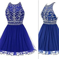 Wholesale Champagne Holiday Girl Dresses - 2017 Royal Blue Short Homecoming Party Dresses Beaded Crystals Mini Real Photo Graduation Gown For Girls Holiday