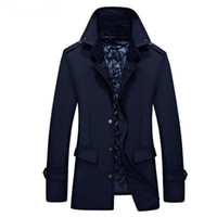 Wholesale Trench Coat Long Men Xxl - New Men's Slim Fit Long Coat Trench Outwear Overcoat Black Blue Trench Warm Autumn Winter Jackets Brand XL XXL XXXL HOT